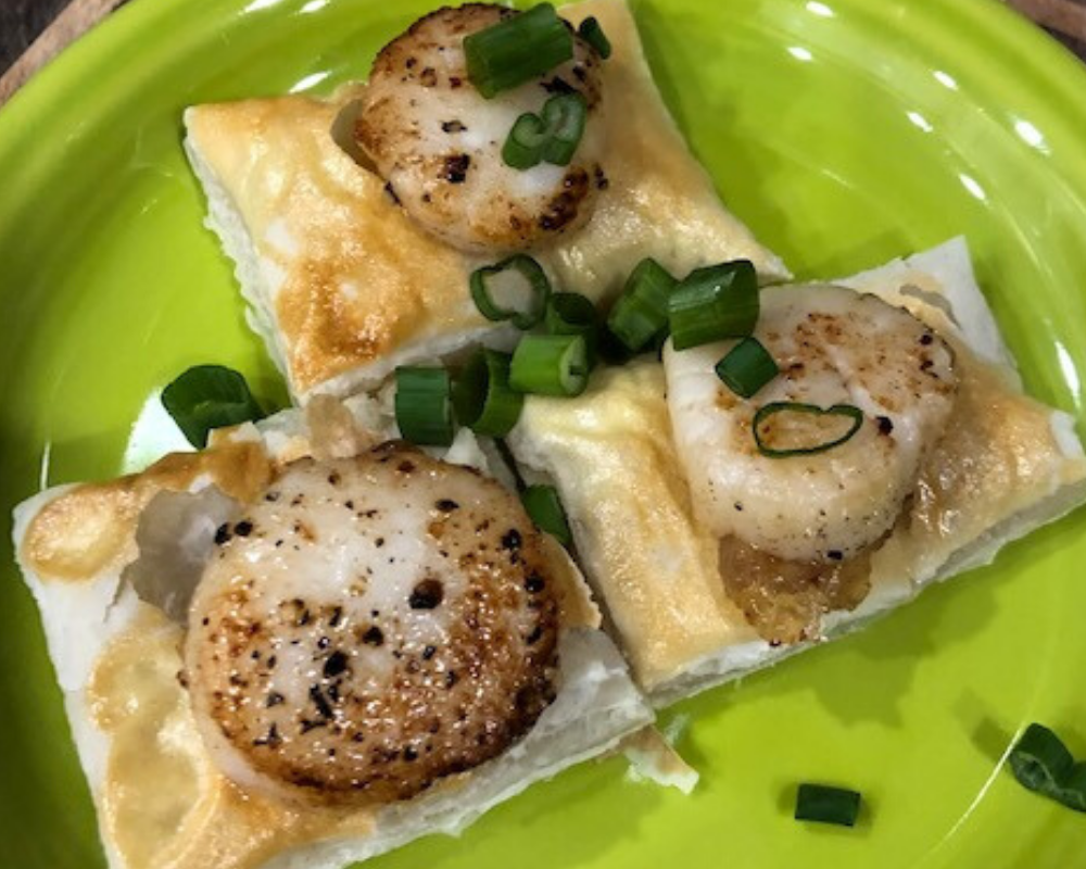 Seared Scallops over Puff Pastry